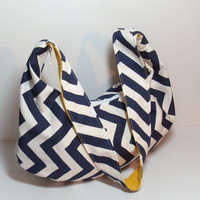 Hobo Sling Bag - Navy Yellow Hobo - Chevron Hobo Bag - Slouchy Bag - Slouchy Purse - Hobo Bag - Over the Shoulder - Purse - Crossbody Hobo