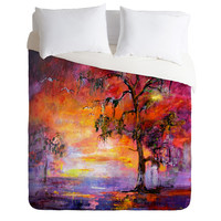 Ginette Fine Art Okefenoee Sunset Duvet Cover