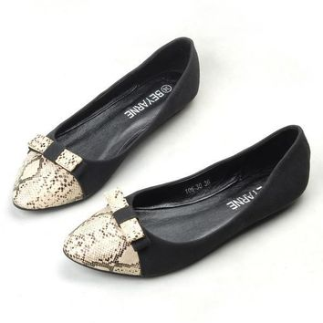 Womens Snakeskin Casual Dress Flats