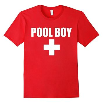 Lifeguard Pool Boy Funny Red White Official Swim Shirt