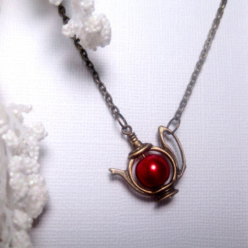 Christmas Red Japanese Teapot Pearl Teapot Necklace Bronze