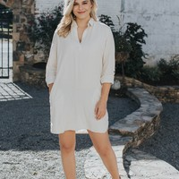 Linen Shirt Dress, Natural
