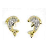 14k Yellow Gold 0.15Ctw Round Diamond Ladies Dolphin Fashion Earrings: Earrings