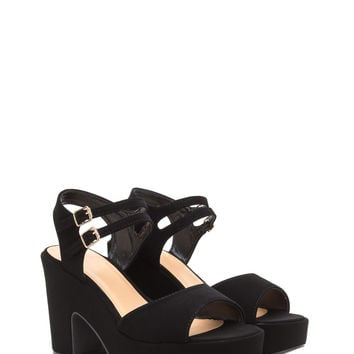 Double Feature Faux Nubuck Block Heels