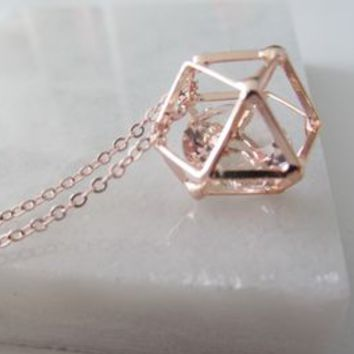 Geometric Rose Gold Crystal Necklace