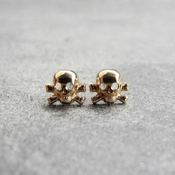 Skull Earring Studs - Skull Jewelry - Halloween Jewelry - Tiny Skull Post Earrings - Skull and Crossbones Jewelry (E216)