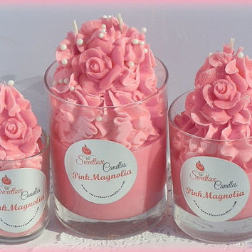 Pink Magnolia Soy Cupcake Candle