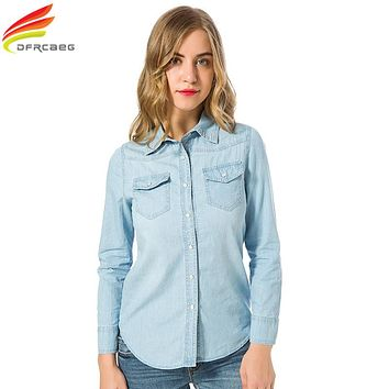 New 2018 Spring Woman Denim Shirt Fashion Style Long Sleeve Casual Shirts Women 2 Colors Blouses Plus Size Blusa Jeans Feminina
