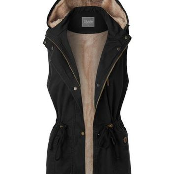 Anorak Fur Lined Hooded Vest Black
