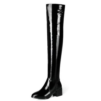 Woman Patent Leather Side Zipper Over The Knee Boots