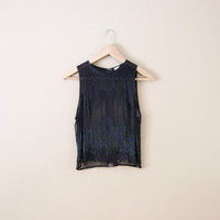 Vintage Black Beaded Top - Black Silk Blouse Beaded Blouse Silk Tank Top Black Sheer Top Sleeveless Top Sequin Top Beaded Shirt Sheer Shirt