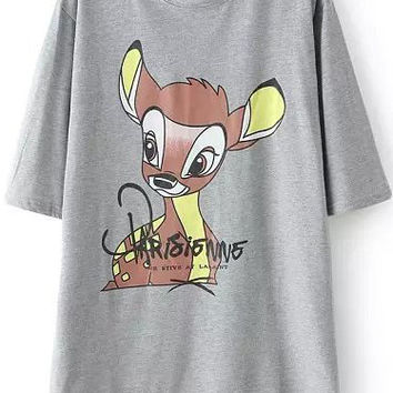 Grey Short Sleeve Deer Print Dip Hem T-Shirt
