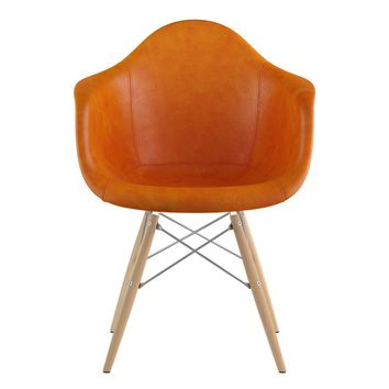 Mid Century Dowel Arm Chair Burnt Orange