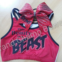 This Beauty is a Beast Full Set Sports Bra Cheer Hair Bow Cheerleader Dancer Dance Rhinestone Bling Glitz