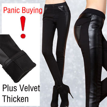 New 2016 autumn winter Women Pants Pu Leather Thick velvet stitching bottoming stretch Slim pencil pants Free shipping