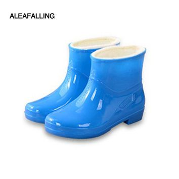 Aleafalling Fashion short ankle rain boots waterproof flat shoes woman rain woman water rubber ankle boots lace up botas W-012