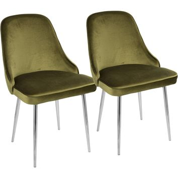 Marcel Contemporary Dining Chairs with Green Velvet, Chrome (Set of 2)