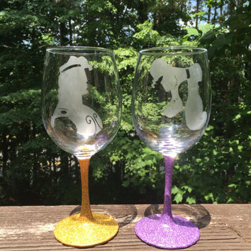 Megara and Hercules inspired by Disney's Hercules etched wine glass, stemless, or pint glass
