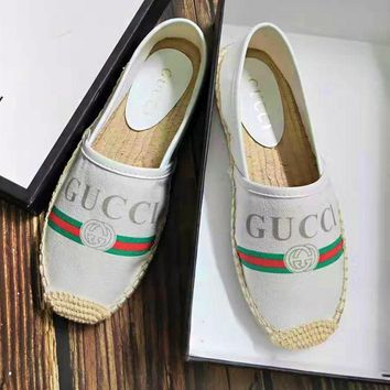GUCCI tide brand female flat bottom wild casual straw fisherman shoes