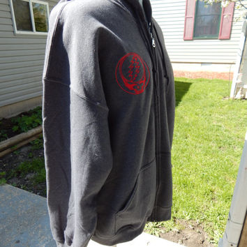 Men's Gray Grateful Dead Tribute Upcycled Zip Up Hoodie Size 2XL OOAK Hippie Clothes mens Hoodie Guys Hoodie Steal Your face