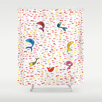 Watercolor Fish Shower Curtain - watercolor school of fish pattern shower design in cerulean, magenta, pink, yellow, red and teal