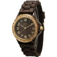 Brown Goldtone Silicone Watch w/ Rhinestones Face Bling Ceramic Look