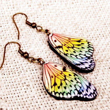 Butterfly wing earrings, Butterfly jewelry, Wing earrings, Colourful earrings, Bug, Insect, Butterflies, Butterfly jewelry, Handmade jewelry