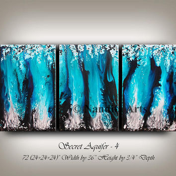 Extra large wall art, Turquoise Painting , Large contemporary art, wall hanging gift decor, modern art, artwork, original fine art Nandita