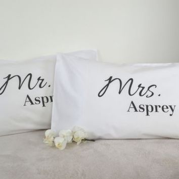 Set Of Two Mr And Mrs Pillowcases