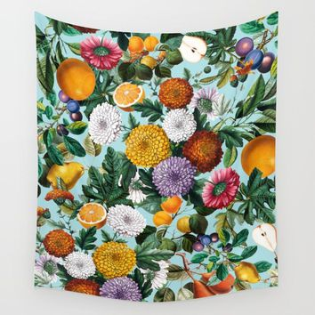 Summer Fruit Garden Wall Tapestry by burcukorkmazyurek