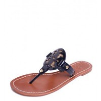 Tory Burch Miller 2 Thong Sandal With Burlap in Tory Navy