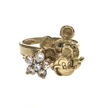 Mickey Mouse Solid Gold Spinner Ring, Vintage, 1930s to 1980s