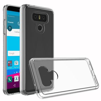 """Acrylic Back Bumper Case For LG G6 (2017) 5.7"""" Slim Fit TPU Frame Shockproof Protective Transparent Clear Cover For LG G6 Plus @"""