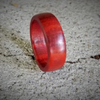 Custom Men's Wood Ring  Red Heart Wood