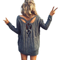 Lvinmw Winter Women Criss Cross Backless Sexy Knitted Sweater Oversized Knitwear Backless Loose Jumpers White Pullover Outwear