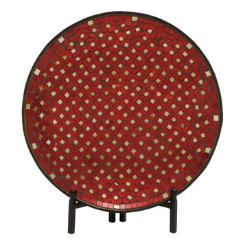 Alluring Metal Mosaic Platter With Stand-24194
