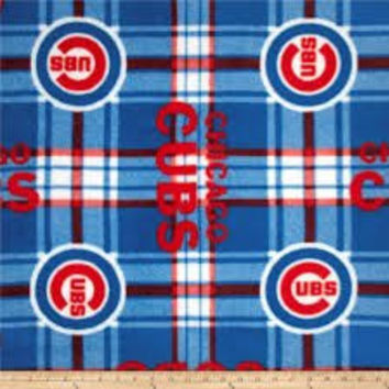 MLB Chicago Cubs Plaid Baseball Sports Team Fleece Fabric Print by the Yard