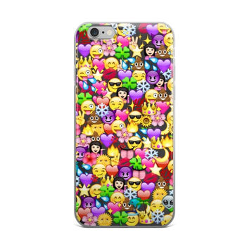 Purple Hearts Pink Hearts Wink Tongue Out Poop Purple Devil Water Star Girl Emoji Collage Cute Girly Girls iPhone 4 4s 5 5s 5C 6 6s 6 Plus 6s Plus 7 & 7 Plus Case
