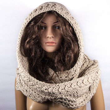 Gray crochet Hooded Scarf, Long Scarf, Chunky Scarf, Scoodie Scarf, Hooded Scarf, LoveKnittings