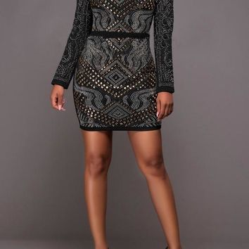 Streetstyle  Casual Black Floral Sequin Round Neck Long Sleeve Mini Dress