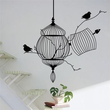 hot sell bird cage vinyl wall stickers bedroom living decoration tree branch 8231. removable diy home decal animal mural art 3.0
