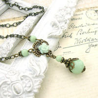 Vintage Style Mint Green Necklace - Neo Victorian Resin Rose Necklace Antique Brass Antique Bronze Mint Victorian Jewelry