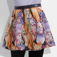 Jacquard Cat Print Skirt