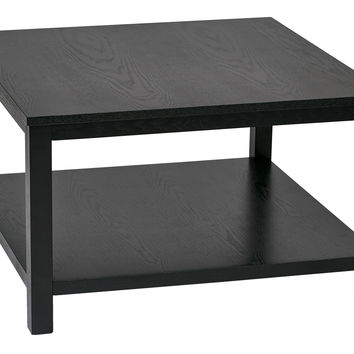 "Ave Six Merge 30"" Square Coffee Table Black Finish"