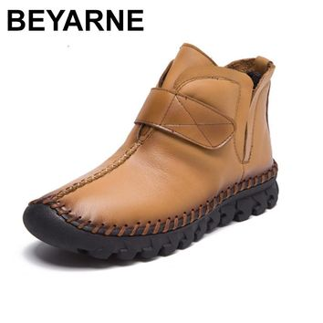 BEYARNE  New fashion women Genuine Leather Boots Vintage Style Flat Booties Zip Ankle Boots Women's Shoes zapatos mujer