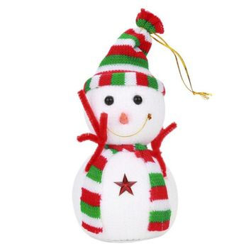 Cute White Snowman Doll Christmas Tree pendant ornament Lovely Snow man Toy Xmas party decoration hanging Gift random color sale