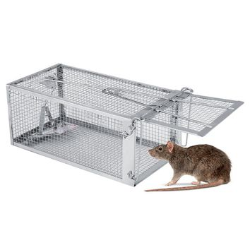 One-Door Small Live Animal Pest Rodent Mouse Control Bait Catch Animal Trap, Iron Cage For Mouse, Rat, Hamster,Mole, Weasel,Gopher and More Small Rodents