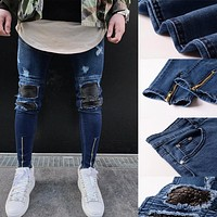 Men ripped slim fit denim jeans