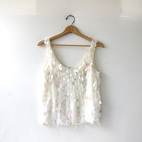 Vintage silk couture paillettes tank top. Oleg Cassini iridescent sequin blouse. beaded tank top. white glamor modern.