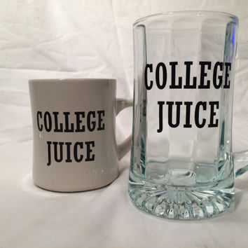 Funny set of coffee mug and beer stein PERSONALIZED mugs for college student or dorm, classic Animal House, essential gear for party an